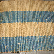 Great Old Woven Blue and Tan Rug for Dollhouse or German Room box