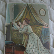Christian Thy Will Be Done Mother Praying for Child Old Postcard