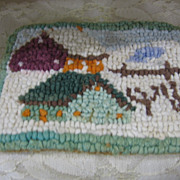 Dollhouse Size Miniature Hand Hooked Rug with Houses