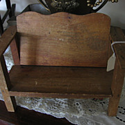 Antique Wooden Doll or Bear Bench Miniature Bench Early 1900s