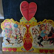 Large New Old Stock Carousel Vintage Valentine Kids Ponies Honeycomb