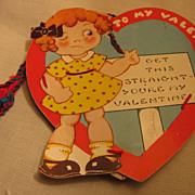 RARE NOVELTY Old Valentine Make Do Pin Cushion Heart Valentine Card