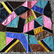 Lovely Victorian Crazy Quilt Square Velvet and Silk Beauty