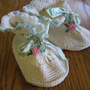 Adorable Vintage Crocheted Baby Booties with Flowers