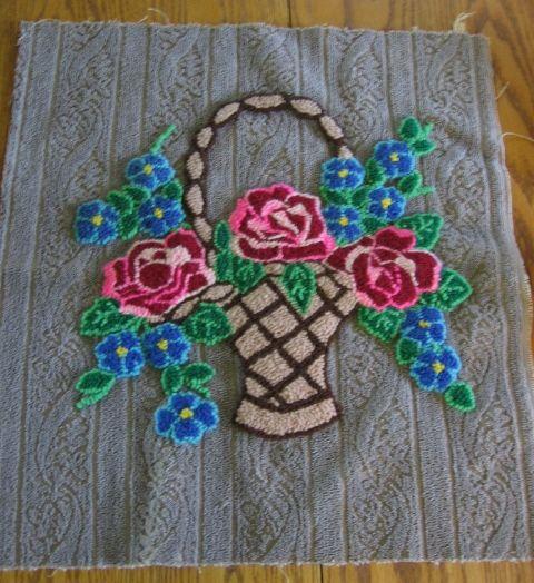 Lovely Vintage Stumpwork Basket of Flowers on Unique Fabric