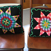 Mennonite Made Lancaster Co Pa Stunning Needlepoint Star Burst Pillow