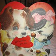 Large Pups Die Cut Hall Bros. Hallmark Valentine Card