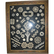 Lace Tatting Sampler in Fancy Wooden Frame Unique Wall Art!!