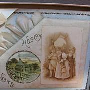 Antique Greeting Card Celluloid Adornment Victorian Children