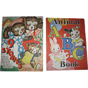 2 Wonderfully Illustrated 1930s Oversized Childrens Books