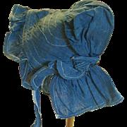 Antique Indigo Blue Prairie Doll Bonnet