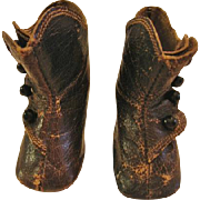 Antique Leather Hightop Button Doll Shoes or Boots with Stockings for China Head or Rag Doll