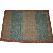 Old Doll Quilt in Blue Brown and Red