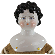 Dolley Madison China Head Doll c1865 Black Hair Ready to Dress