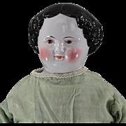 Civil War Era BROWN Eye China Head Doll