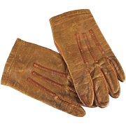 Antique Doll or Child's Leather Gloves Red Stitching Monogram Closure