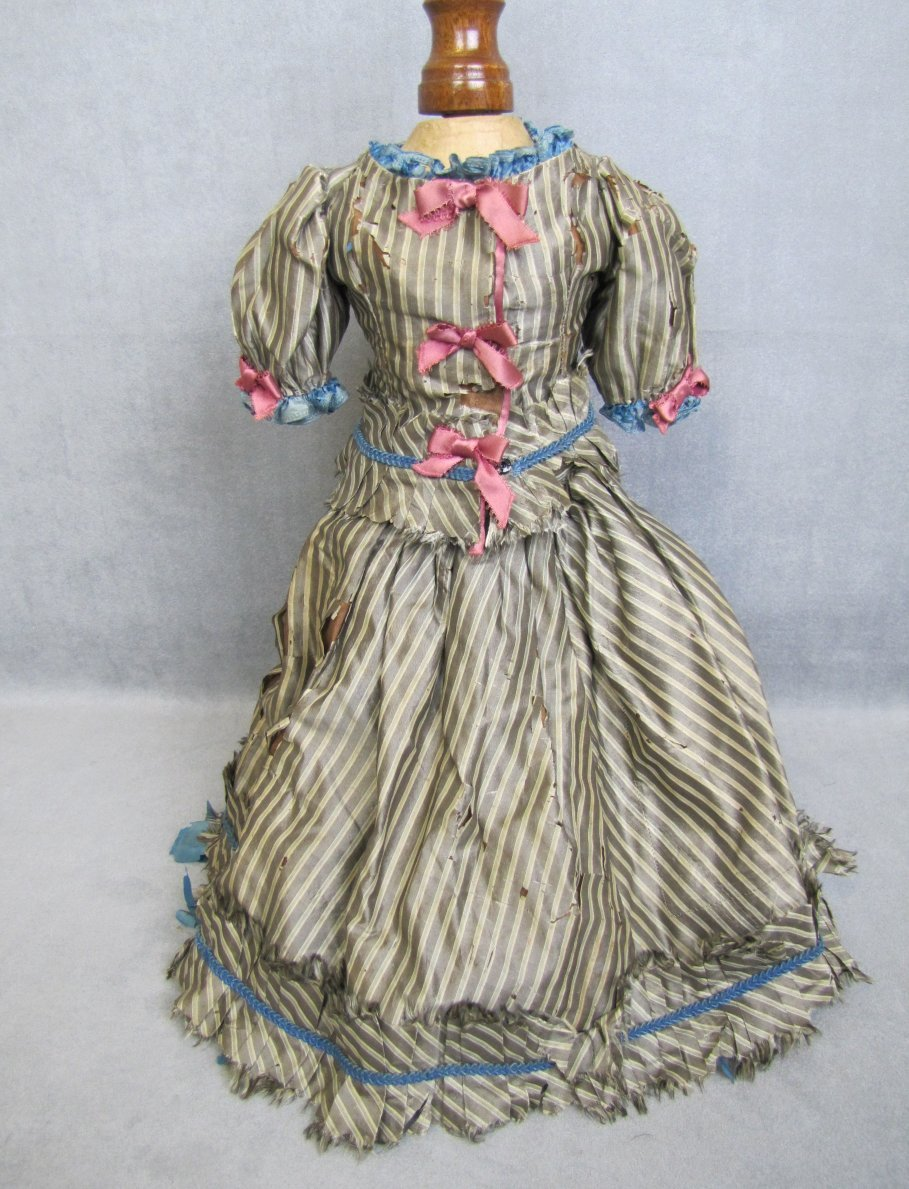 Antique Silk Doll Dress Two Pieces Lined and Lovely