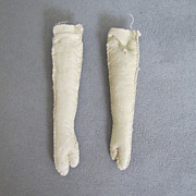 "Vintage Cream Kid Leather Doll Arms 3"" Mitten Hands"