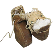 Early Leather Moccasins for Baby or Large Doll