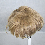 "Antique Mohair Doll Wig Light Brown Wefted 12"" Head for Baby or Toddler"