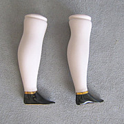 Parian Bisque Doll Legs Pink Tint with Flat Black Boots Gold Accents
