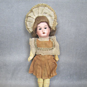 "German Bisque 8"" Child Great Costume & Wig Factory Original"