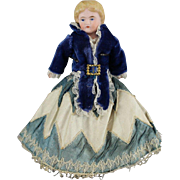 German Bisque Molded Hair Doll Gorgeous Costume 7 Inches