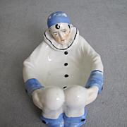 Sitzendorf Harlequin Figural Mardi Gras Puff Dish Pierrot