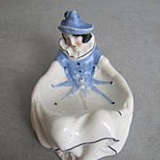 Sitzendorf Harlequin Figural Mardi Gras Puff Dish Pierrette