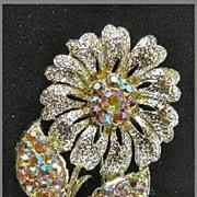 Brilliant Aurora Borealis Gold Tone Flower Brooch Pin