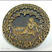 Victorian Cleopatra with Brass Heart Rim Button Marriage Pin