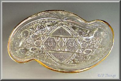 EAPG McKee Glass Pres Cut Fentec Spoon Tray with Gold Gilt Trim