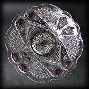 EAPG Blazing Cornucopia Large Glass Berry Bowl with Stain US Glass Company
