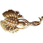 Lisner Thistle Brooch Goldtone with Faux Pearls