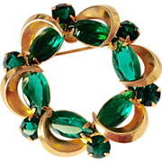 Large green glass circle pin, vintage goldtone brooch
