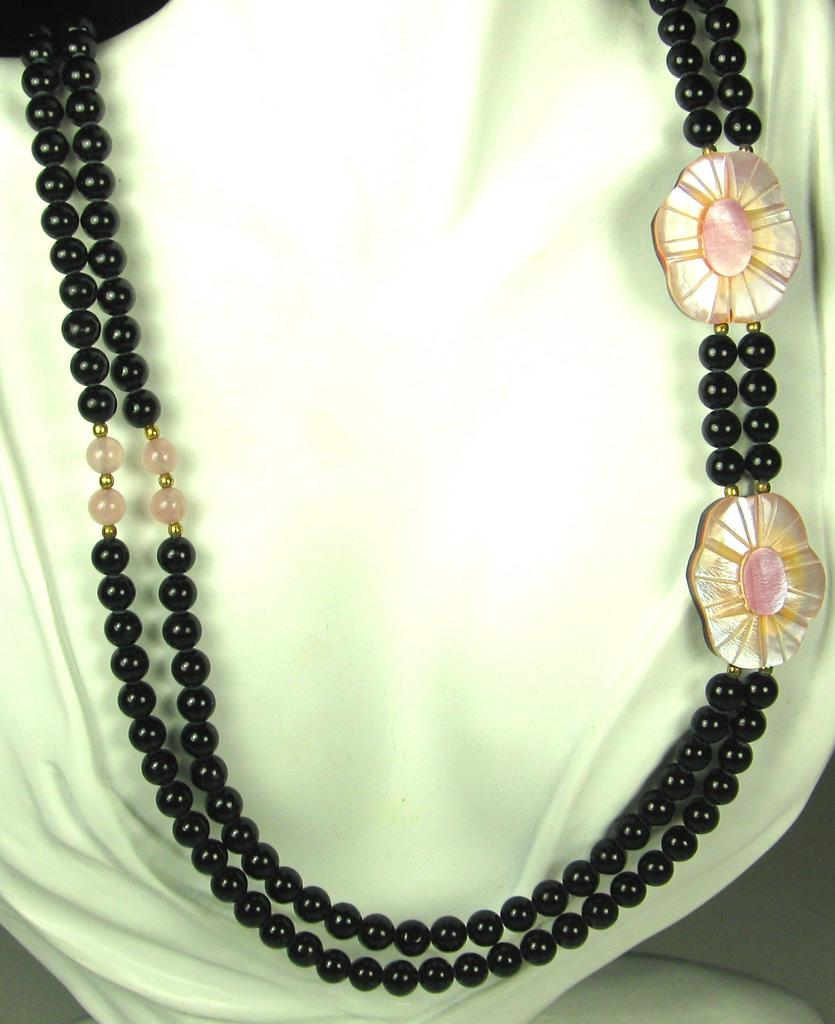 Vintage Glass Bead and Inlaid Laminated Glass Necklace