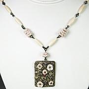 Vintage Light Pink Glass Czech Necklace