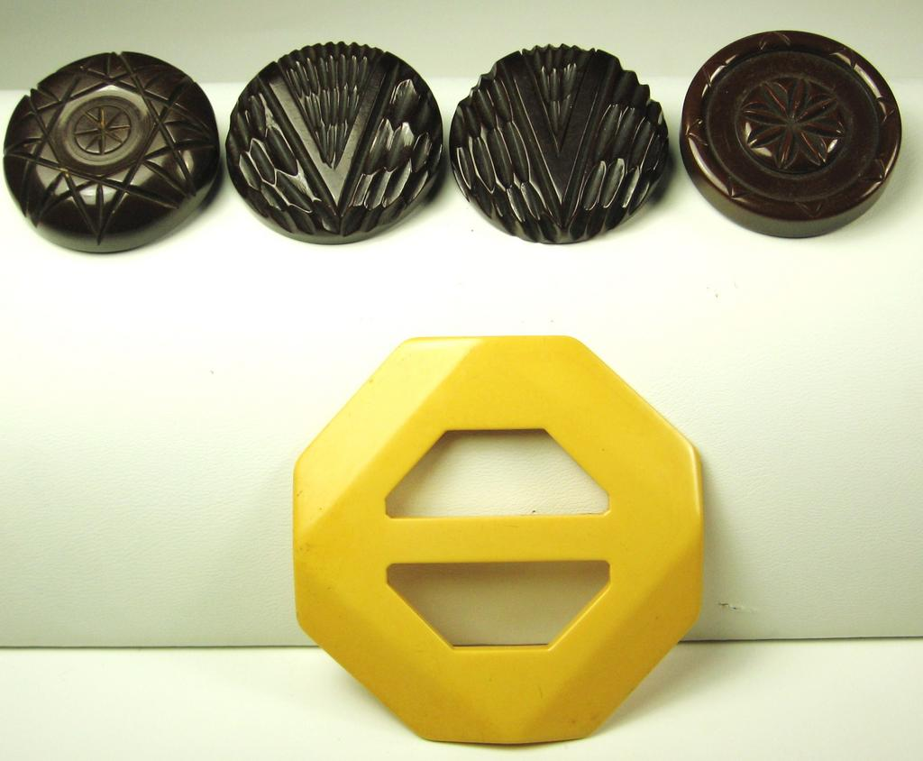 Vintage Yellow Bakelite Buckle and Brown Bakelite Buttons