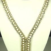 Hattie Carnegie White Glass Cabochon and Rhinestone Necklace