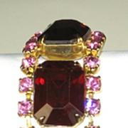 Paste Pink Rhinestone and Red Emerald Cut Stone Bracelet