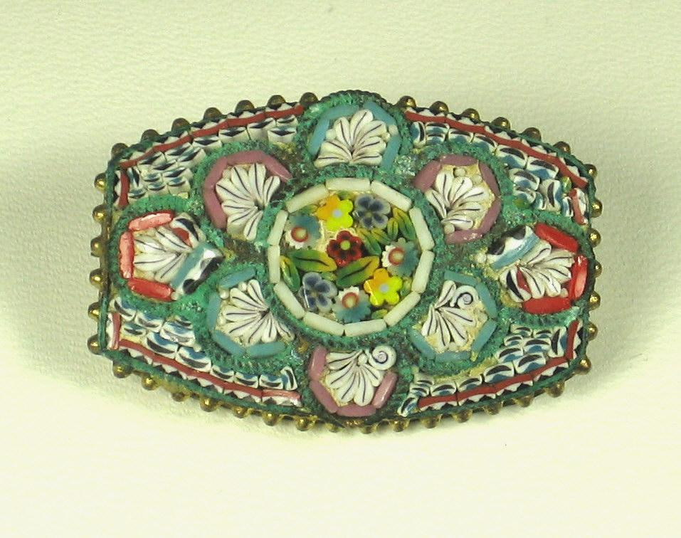Vintage Old Italian Mosaic Floral Pin