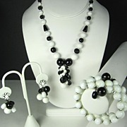 Miriam Haskell Black and White Glass Bead Necklace, Bracelet, and Earrings