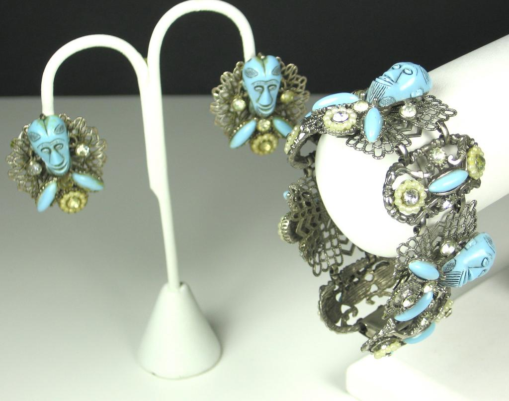 Selro Blue Devil Bracelet and Earrings Set with Imitation Pearls
