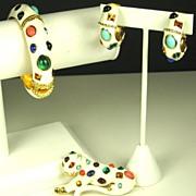 Kenneth Jay Lane Fantasy Bracelet, Leopard Pin, and Earrings