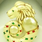 Hattie Carnegie K.J.L. Enamel Lion Head Pendant Brooch with Imitation Pearls
