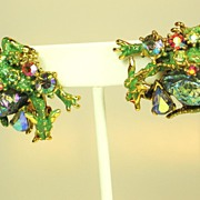 Vintage 1950s Green Enamel Har Dragon Earrings