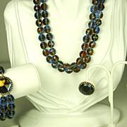 Hattie Carnegie Rose Cut Dichroic Bead Necklace, Bracelet, and Earrings