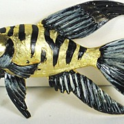 Vintage Hattie Carnegie Black Enamel Fish Pin