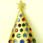 Vintage Hattie Carnegie Christmas Tree Pin