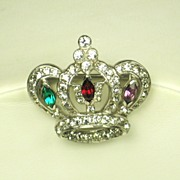 Mazer Rhodium Plated Metal and Rhinestone Crown Pin